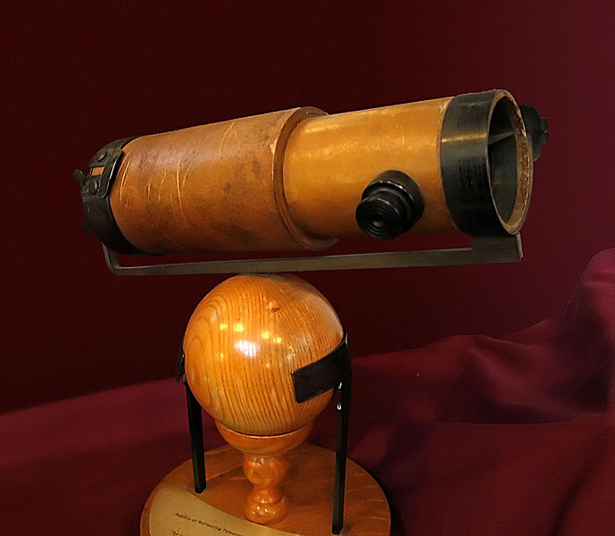 A replica of Newton's second reflecting telescope, which he presented to the Royal Society in 1672.