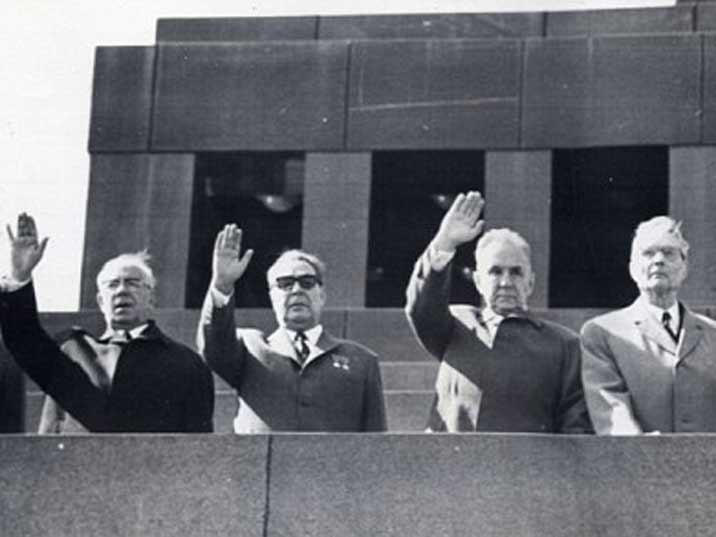 Leonid Brezhnev (2nd from left), Moscow May Day Parade 1975