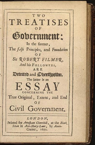 """Locke's text, """"Two Treatises of Government"""", 1690 edition"""
