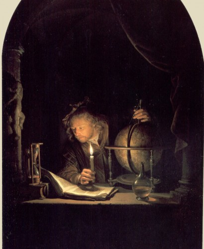 "Johannes Vermeer, ""Astronomer by Candlelight"" (1665) Before the Industrial Revolution, people relied on candlelight for illumination."