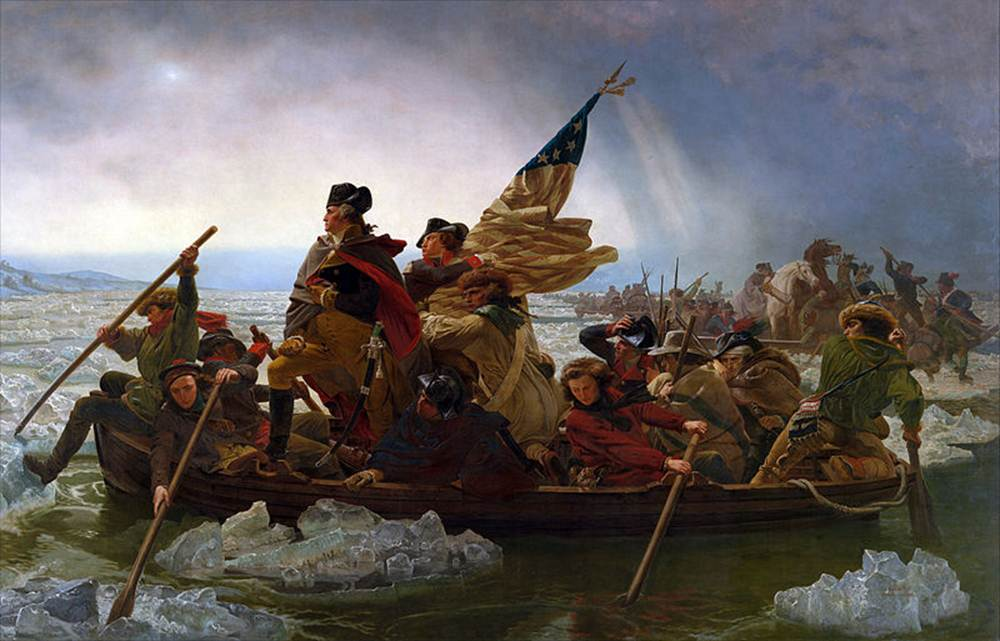 """Washington Crossing the Delaware"" (1851) by Emanuel Leutze This painting represents one of the most famous images of the American Revolution. However, the true revolution occurred in the minds and hearts of individuals, not in the blood and violence of war."