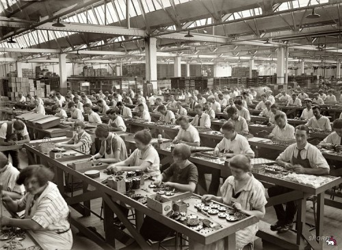 Factory workers putting radios together at the vast Atwater Kent factory in Philadelphia, 1925.