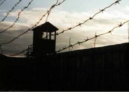 Barbed wire enclosing a Russian gulag