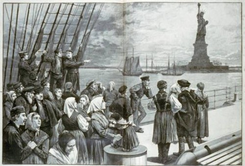 Illustration depicting Irish immigrants at Ellis Island