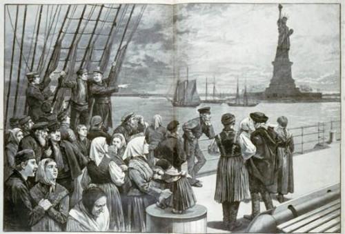 Illustration depicting Irish immigrants at Ellis Island