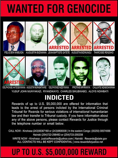 Wanted poster for fugitives wanted for the Rwandan Genocide