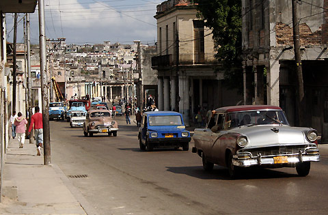 Havana, Cuba. The complete lack of freedom has created nearly zero innovation (thus the automobiles in the photograph that are leftover from the 50's era) and poverty.
