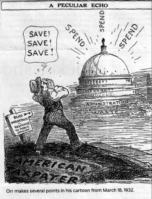 This 1932 cartoon reflects the widespread dismay over President Hoover's profligate spending