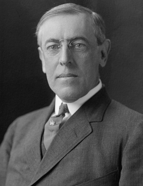 Woodrow Wilson (1856-1924), 28th president of the United States and principal promoter of the League