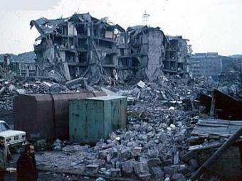 Destruction due to shoddy construction after the 1988 Armenia earthquake.