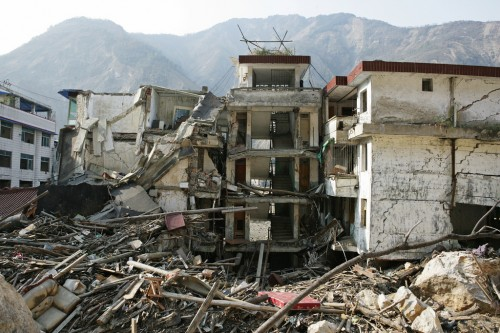 Sichuan Province after the Chinese earthquake of 2008.