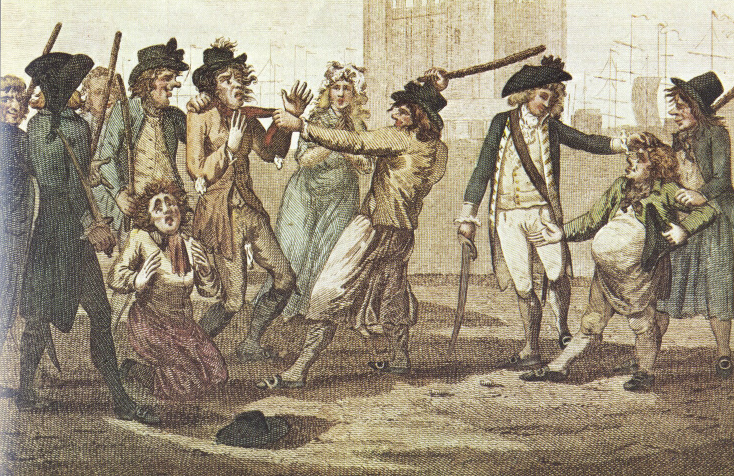 "The ""Press Gang"", British caricature of 1780, shows two men being seized for impressment into the Royal Navy."