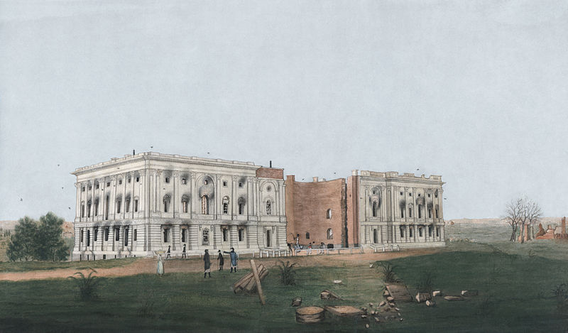 The United States Capitol after the burning of Washington, D.C. in the War of 1812. George Munger (1814)