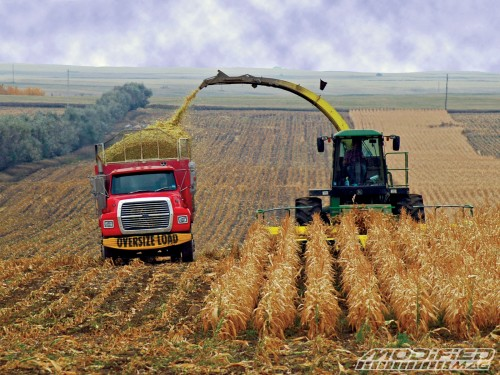 Harvesting ethanol fuel. This image symbolizes agribusiness success in obtaining federal subsidies for a product which does not achieve a cleaner environment and causes higher prices for food. in poor countries