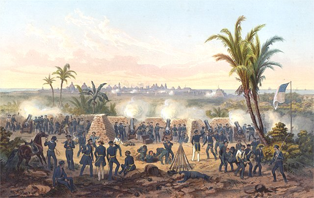 """""""The Battle of Veracruz"""" by Carl Nebel This battle occured in 1847 when President Polk sent the American army to invade the Mexican heartland via amphibious landing at Veracruz, the seaport nearest to Mexico City."""