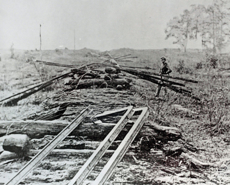 Sherman's neckties were a railway-destruction tactic used in the American Civil War. Named after Maj. Gen. William Tecumseh Sherman of the Union Army, Sherman's neckties were railway rails destroyed by heating them until they were malleable and twisting them into loops resembling neckties, often around trees. Since the Confederacy had limited supplies of iron, and few foundries to roll the rails, this destruction was very difficult to repair.