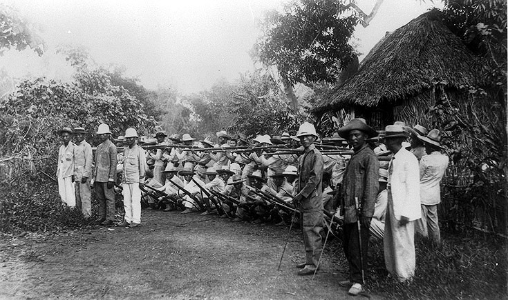 Filipino soldiers outside Manila, 1899