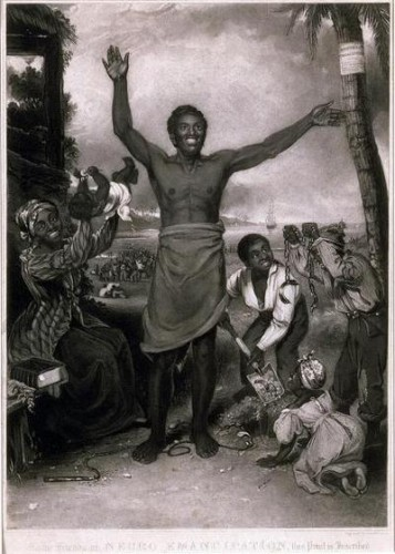 "Plate entitled ""To the friends of Negro Emancipation"", celebrating the abolition of slavery in the British Empire."