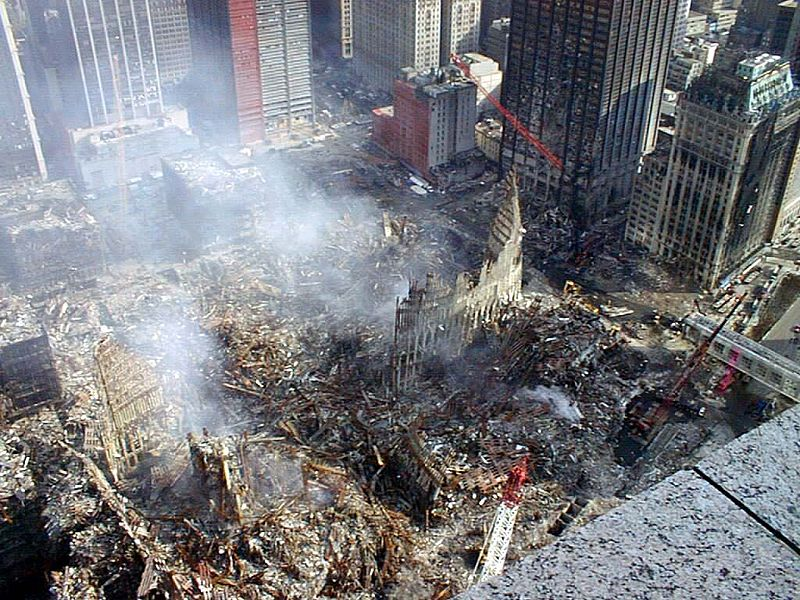 Ground Zero in Manhattan after the September 11th 2001 attacks.
