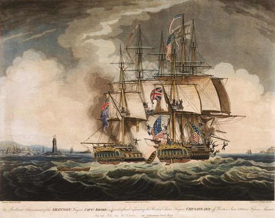 "The text below the painting, by W. Elmes, reads: ""The Brilliant Achievement of the Shannon... in boarding and capturing the United States Frigate Chesapeake off Boston, 1 June 1813 in fifteen minutes""."