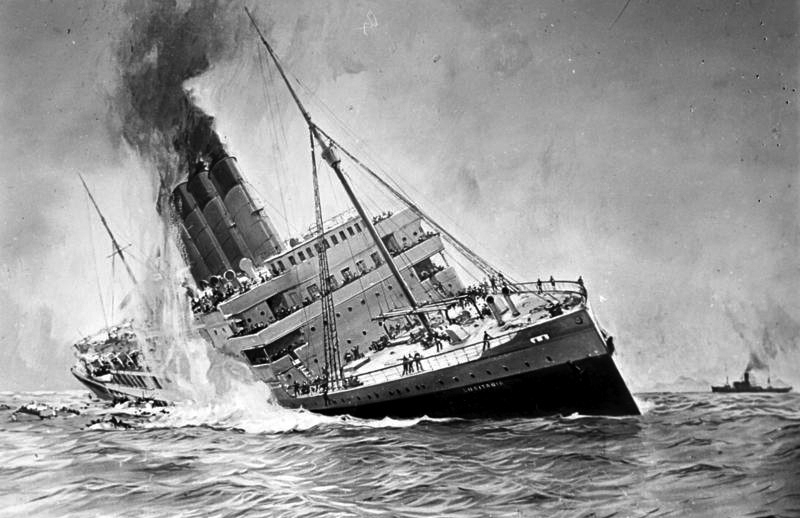 In 1915 a German submarine sank the British passenger ship RMS Lusitania, killing 1,198 of the 1,959 people aboard including 128 Americans.