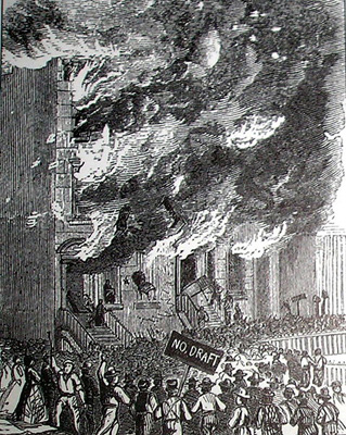 Rioters attacking a building on Lexington Avenue during the New York Draft Riot of 1863.