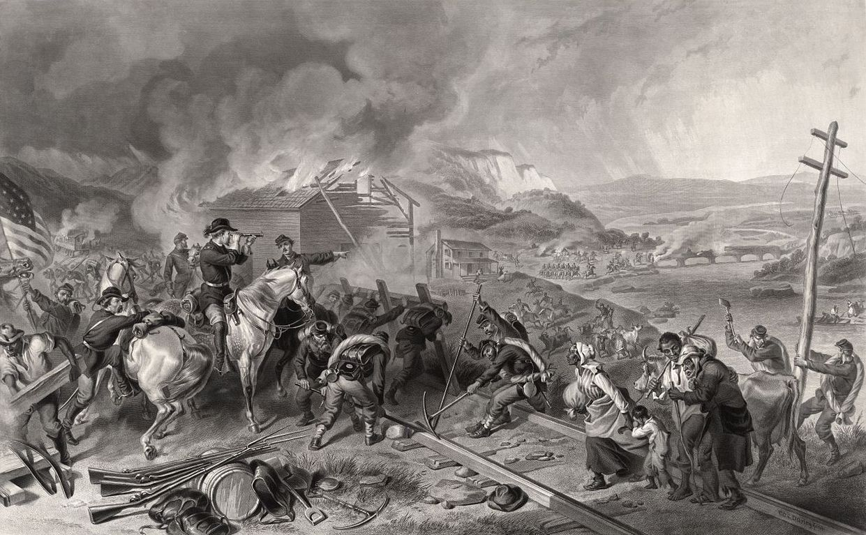 "Engraving by Alexander Hay Ritchie depicting Union General William Tecumseh Sherman's ""March to the Sea"". His forces destroyed military targets as well as industry, infrastructure, and civilian property and disrupted the South's economy and its transportation networks."