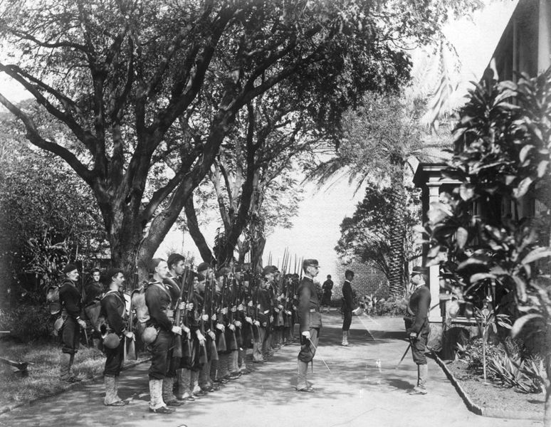Armed U.S. Marines outside the Hawaiian Royal Palace, 1893