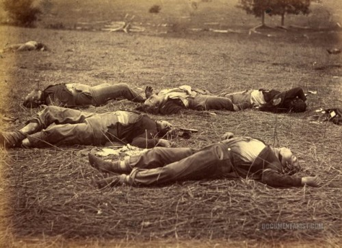 Fallen soldiers after the Battle of Gettysburg, 1863