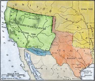 Map of U.S. and Mexico before Mexican-American War.