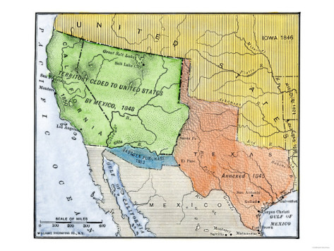 Map of the U.S. and Mexico before the Mexican-American War.