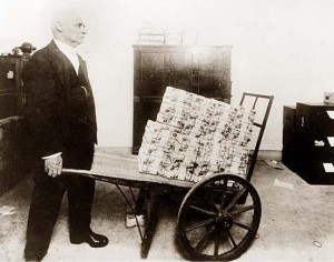 Post WW I German hyperinflation necessitated bringing trillions of Marks for even the smallest of purchases.