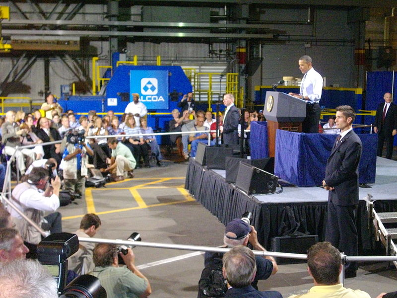 President Obama visiting Alcoa's Davenport, Iowa, Plant. His visit was intended to highlight the role of manufacturing in U.S. job creation and exports. It is ironic that several decades after the government's attack on Alcoa, a U.S. president travels to the plant to highlight the company's contribution to the economy.