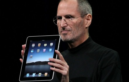 Co-founder and former Apple CEO Steve Jobs (1955-2011) introduces iPad.