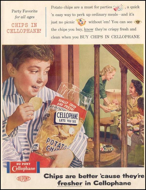 1936 advertisement for cellophane. The ability to keep food fresh in plastic cellophane revolutionized the food industry.