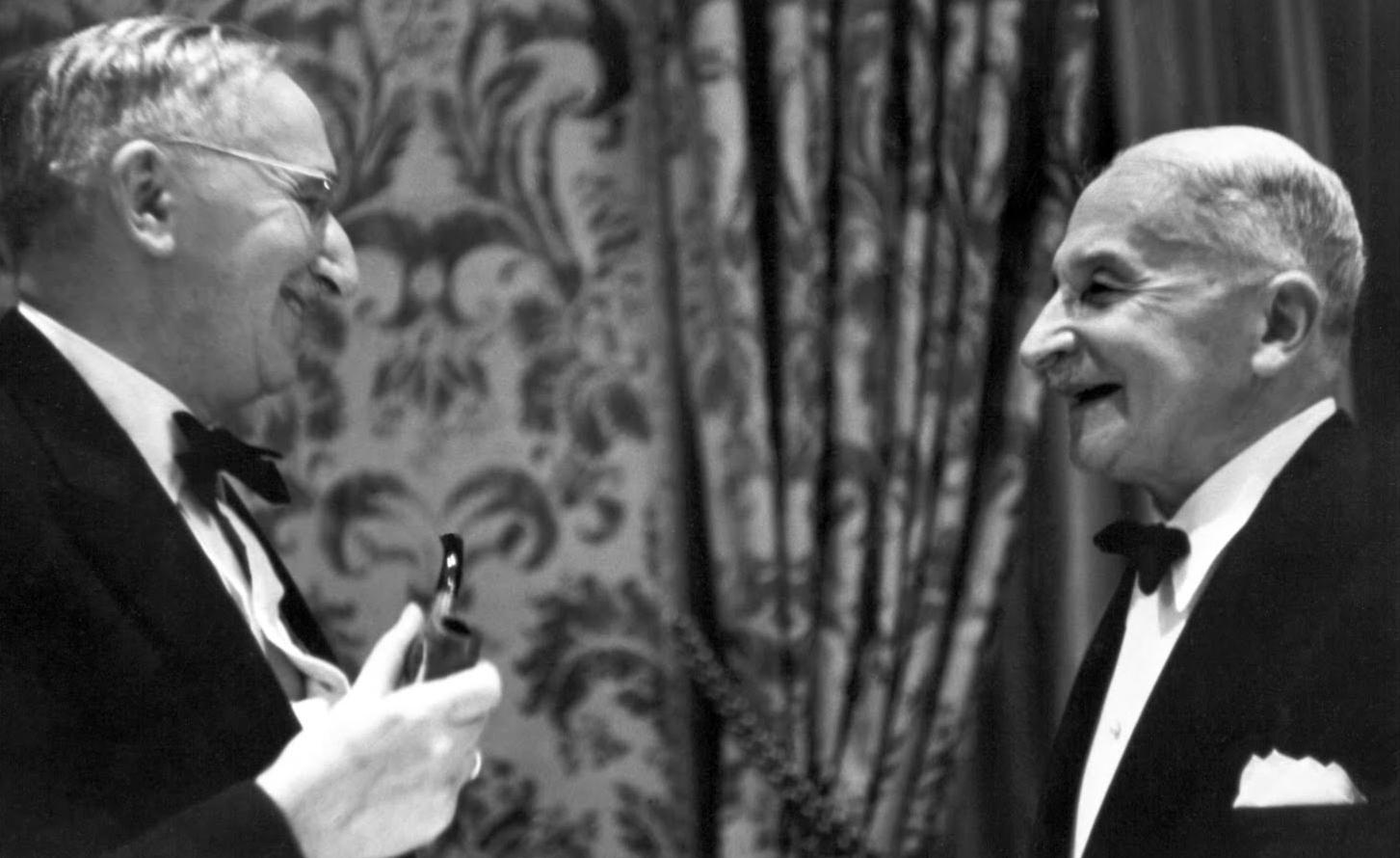 Two leaders of the Austrian school - Friedrich Hayek (left) and Ludwig von Mises (right). Date unavailable.