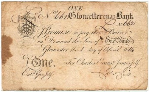 An example of a provincial English banknote: a £1 note issued in 1814 by the Gloucester Old Bank.