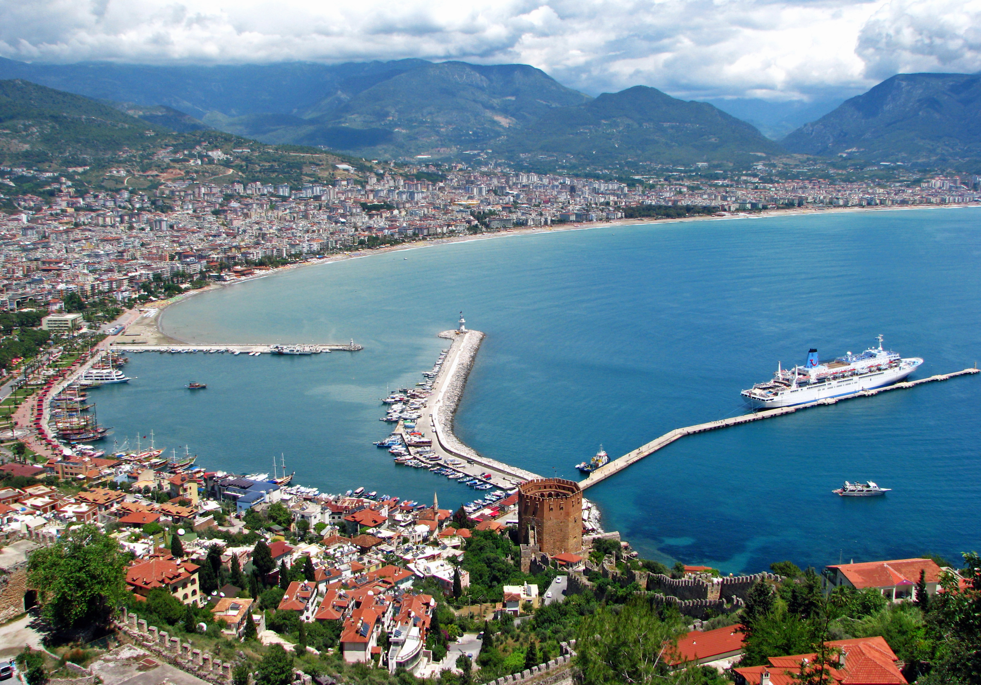 View of the Mediterranean Sea from Alanya castle in Turkey