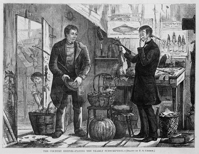 An 1874 newspaper illustration from Harper's Weekly, showing a man engaging in barter: offering chickens in exchange for his yearly newspaper subscription.