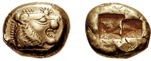 A 640 BC electrum coin from Lydia