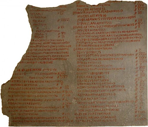 A piece of the original edict of Diocletian.