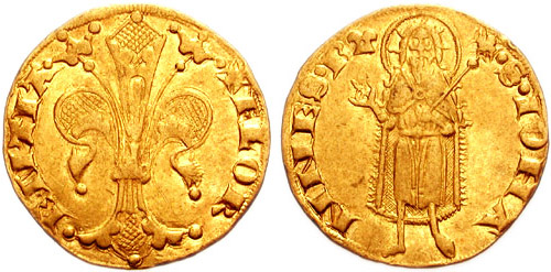 Florin, found as part of the Sroda Treasure which was a hoard of coins and precious gems from the 14th century, discovered in what is now the Czeck Republic in the 1980's.
