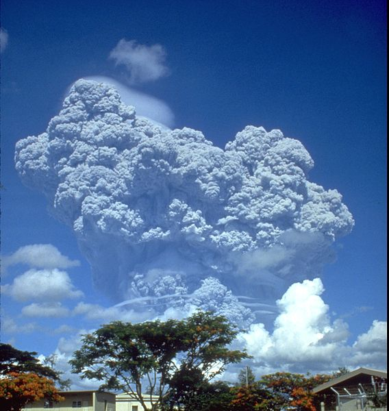 The eruption column of Mount Pinatubo on June 12, 1991, three days before the climactic eruption.