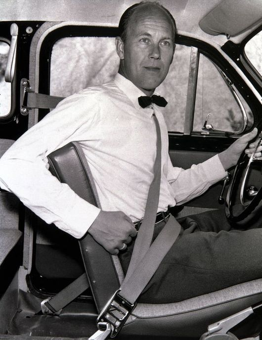 Nils Bohlin demonstrates his three-point safety belt, 1959.