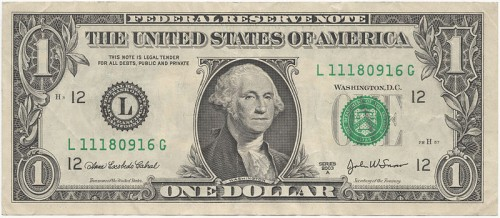 "Note to the left of George Washington's image the verbiage, ""This note is legal tender for all debts public and private."""