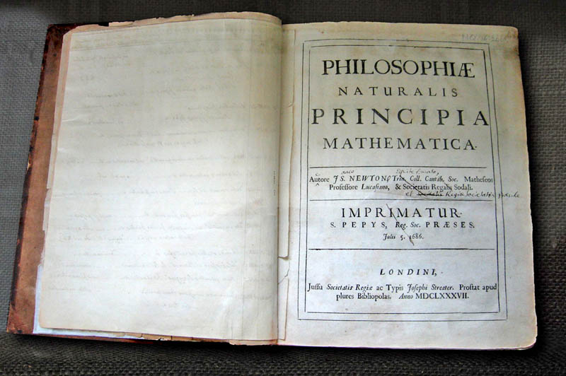 Newton's personal copy of the 1st edition of Principe Mathematica