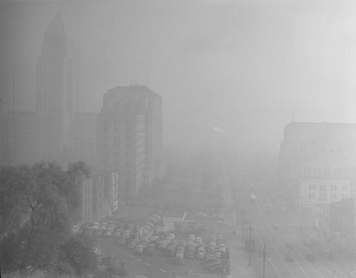 L.A. Civic Center masked by smog on January 6, 1948. Courtesy of UCLA Library Special Collections