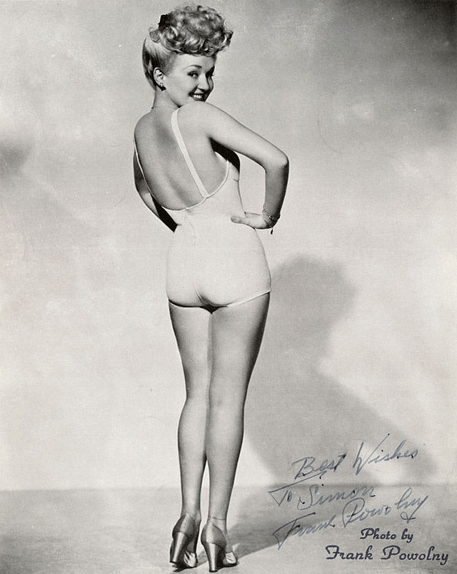 "Betty Grable, 1943, showing off her ""million dollar legs."""