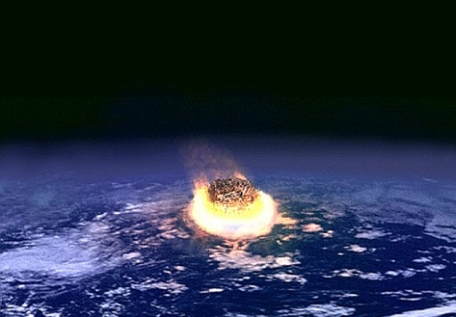 An artist's rendering of the Cretaceous-Paleogene extinction event, most likely caused by a large asteroid hitting earth 65 million years ago.
