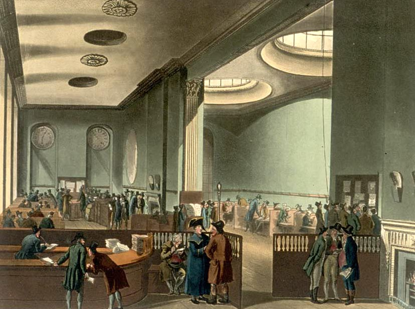 Lloyd's subscription room, early 19th century.